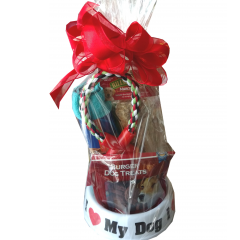"DiBella Flowers & Gifts Las Vegas - Welcoming a new addition home or just wanting to send a surprise for your pup. ""I Love My Dog"" food bowl, Bones, Chews, Toys and more! A nice treat for a four legged friend!"