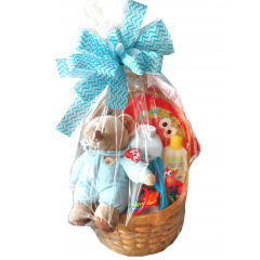 Welcome Baby Boy Basket The prefect gift for new parents! Includes stuffed bear, baby soap, lotion, teething ring and more.