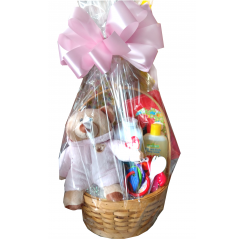 Welcome Baby Girl Basket The prefect gift for new parents! Includes stuffed bear, baby soap, lotion, teething ring and more.