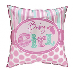"DiBella Flowers & Gifts Las Vegas -  Baby Girl Square Footprint  18"" Packaged Foil Balloon"