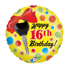 DiBella Flowers & Gifts Las Vegas - Happy 16th Birthday Key Mylar
