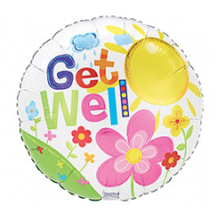 Get Well Sun & Flowers Mylar