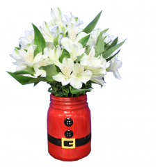 DiBella Flowers & Gifts Las Vegas - Santa Holiday Mason Jar White Alstromeria lilies on an adorable keepsake Santa Mason Jar *Alstromeria lilies may be closed upon delivery but will open beautifully