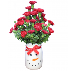 DiBella Flowers & Gifts Las Vegas - Frosty Holiday Mason Jar Red Mini Carnation in an adorable keepsake Santa Mason Jar. *Carnations may be closed upon delivery but will open beautifully