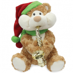 "DiBella Flowers & Gifts Las Vegas - Christmas Cheeks Animated Plush Teddy Bear Stuffed Animal 12"" Tall Animated Plush ""Blowing"" Cheek Expanding Module Side To Side Movement Plays ""Have Yourself A Merry Little Christmas"" 3 AA Batteries Included"