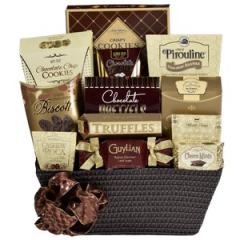 Sweet Ambassador Guylian Belgian Chocolate Truffles (1.02 oz), Brown & Haley Cashew Roca (0.84 oz), Truffettes de France Cocoa Truffles (3.52 oz), Truffettes De France Sea Salt Caramel Truffles (0.84 oz), World's Finest Double Chocolate Meltaways (1.37 oz), Foley's Choco Mints (0.5 oz), King Leo Chocolate Mint Puffs (1.5 oz), Mom's Best Triple Chocolate Biscotti (1.4 oz), Chocolate Pretzels (2.99 oz), Pirouline Chocolate Hazelnut Wafers (3.5 oz), Aunt Gloria's Sugar Cookies (4.23 oz), Sonia's Favourite Chocolate Chip Cookies (3.98 oz),