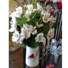 DiBella Flowers & Gifts Las Vegas - Grandma Streek's Cardinal Pitcher My great grandmother told us that seeing a bright red cardinal was good luck. To this day, whenever I see one, I think of her. In her memory, we offer this cardinal keepsake pitcher full of fresh white alstromeria lilies and Christmas greens. *Lilies arrive tight but will open and are long lasting!