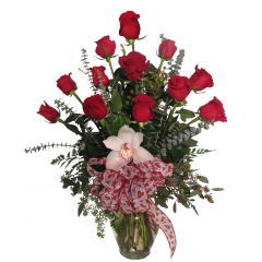 DiBella Flowers & Gifts Las Vegas - The perfect dozen! 12 of our premium roses, with a little Valentine's Day flare, to show your love.  *Orchid color may vary *Ribbon may vary Please specify color - Red will be sent if no color is chosen Pricing Good 2/1/19- 2/14/19