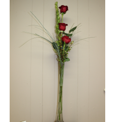 DiBella Flowers & Gifts Las Vegas - The Elegant Triple Rose Tower Budvase. Approximately 3 feet tall.