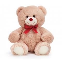 DiBella Flowers & Gifts Las Vegas - Super soft, beige plush bear with red grosgrain ribbon and red nose.  10 Inch