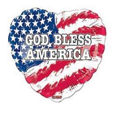God Bless America Mylar  18 inch balloon