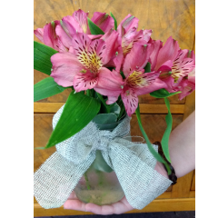 DiBella Flowers & Gifts Las Vegas - Alstromeria lilies in a mason jar with burlap ribbon wrap