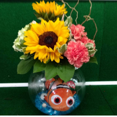 We found Nemo! Plush Nemo in his own bubble bowl with filled with crystal, fresh arrangement on top with seashell included.  *can sub Dori too!