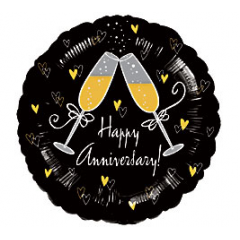 """Cheers to your Anniversary! 18"""" Packaged Foil Balloon"""