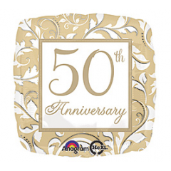 "DiBella Flowers & Gifts Las Vegas - Celebrate your Golden Anniversary! 50th Anniversary Mylar 17""  Balloon"