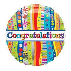 DiBella Flowers & Gifts Las Vegas - For a bright and fun celebration! Congratulations Stripes Mylar