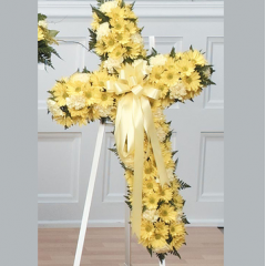 DiBella Flowers & Gifts Las Vegas - Yellow Cross Standing Spray CTT41-13