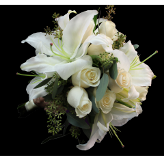 The Samantha Bouquet! White Lilies and Roses