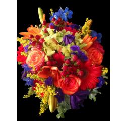 DiBella Flowers & Gifts Las Vegas - Red, Blue, Orange mixed Bouquet