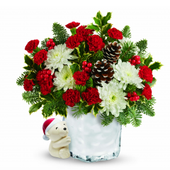 DiBella Flowers & Gifts Las Vegas - Un-bear-ably adorable, this charming polar bear can't wait to deliver happy holiday greetings and a festive bouquet of fresh flowers!