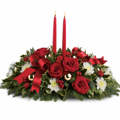 DiBella Flowers & Gifts Las Vegas - Make the season bright - and their table a delight - with the glowing tapers, radiant red roses and fresh Christmas greens of this stunning seasonal centerpiece.  ** Oregonia, a similar looking green may be substituted for the holly.