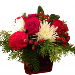 DiBella Flowers & Gifts Las Vegas - Fresh Greens, Red Roses and Carnations, Snow White Spider Mums and Red Coffee Berry in a Ruby Red Cube.  *$5 from each sale will go to Three Square to help support the needy in the Las Vegas community.