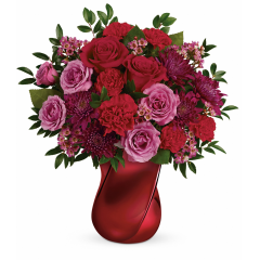 DiBella Flowers & Gifts Las Vegas - Spoil your crush this Valentine's Day with a luxurious red and lavender bouquet, arranged in a stunning crimson ceramic vase with modern twisted design.