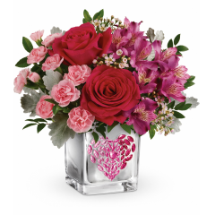 DiBella Flowers & Gifts Las Vegas - Celebrate your sweetheart with this hot pink bouquet, delivered for Valentine's Day in a shimmering mirrored cube with a pink ombre rhinestone heart!