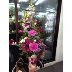 DiBella Flowers & Gifts Las Vegas - I heard somewhere, that's all you need... Keepsake travel mug with fresh shades of purple.