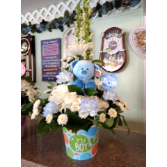 DiBella Flowers & Gifts Las Vegas - Keepsake fish themed container with fresh blue and white mix and huggable bear.