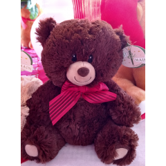"DiBella Flowers & Gifts Las Vegas - 8"" Sitting assorted Brown and Tan colored bears, featuring embroidered eyes, a friendly smile and a red organza ribbon accessory. * Don't forget to choose your color otherwise, we will pick the one we like best."