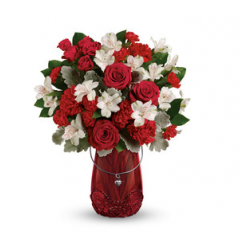 DiBella Flowers & Gifts Las Vegas - Take their Valentine's Day breath away with this passionate rose bouquet, presented in a keepsake glass lantern vase with beautiful lace detail and sparkling heart charm.