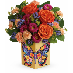 DiBella Flowers & Gifts Las Vegas - A bold and beautiful thank you! The rich jewel tones of this gorgeous bouquet are matched only by the wondrous wings on this hand-glazed ceramic cube.