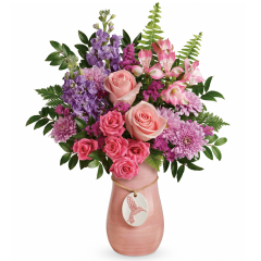 DiBella Flowers & Gifts Las Vegas - Presented in a hand-glazed ceramic vase with delightful hummingbird medallion, this magnificent rose and lily bouquet spoils mom with beauty and love.