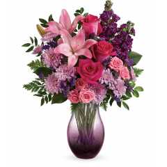 DiBella Flowers & Gifts Las Vegas - Give mom a memory she'll enjoy for years to come: a hot pink bouquet delivered in this breathtaking, hand-blown bubble glass vase in gorgeous ombre shades of purple.