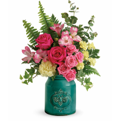 DiBella Flowers & Gifts Las Vegas - Fresh from the farm, this stylish stoneware crock has a hand-glazed, crackle finish and delightful etched bee motif. Filled with a cheerful rose bouquet, it's a grand gift for mom!