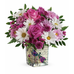 DiBella Flowers & Gifts Las Vegas - Reminiscent of a love letter written in a Parisian garden, this whimsical cube vase will make mom's heart soar, especially when delivered for Mother's Day with a cheerful roses and daisies bouquet!