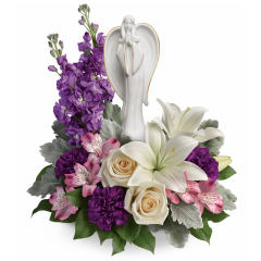 DiBella Flowers & Gifts Las Vegas - An elegantly unique expression of your love, this majestic mix of crème, white and lavender blooms includes fragrant roses and lilies to refresh and rejuvenate their spirits. Nestled among the blooms is a graceful angel sculpture - a serene, spiritual keepsake they'll always treasure.