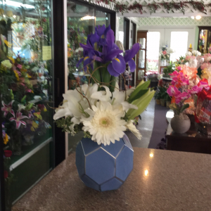 DiBella Flowers & Gifts Las Vegas - Blue iris, white Casablanca lilies, white Gerbera daisies, and curly willow in powder blue keepsake vase.