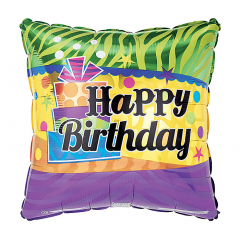 DiBella Flowers & Gifts Las Vegas - Happy Birthday Stripes and Squares Mylar