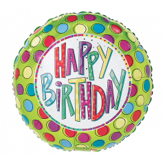 DiBella Flowers & Gifts Las Vegas - Happy Birthday Green with Spots Mylar