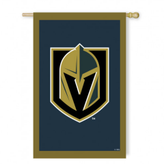 "DiBella Flowers & Gifts Las Vegas - Vegas Golden Knights Appliqué House Flag Each flag is made of strong 310 denier nylon to withstand all types of weather. We combine pieces of fade-resistant fabric with tight, detailed stitching to create a mosaic effect. The soft yet heavyweight material illuminates beautifully in sunlight. ** HANGER NOT INCLUDED Dimensions: 28""W X 44""H"