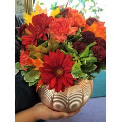 DiBella Flowers & Gifts Las Vegas - A bouquet fresh autumn shades of gerberas, mums, carnations and spray roses in a keepsake copper vase. These beautiful fall blooms were chosen by our very own eternally cheery, caffeine addicted Rebecca.