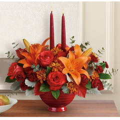 DiBella Flowers & Gifts Las Vegas - Warm their hearts and brighten their table with this lush fall rose bouquet, arranged in a crackle-glazed, oven-to-table stoneware serving bowl they'll enjoy for many years to come! *FDA-approved to safely serve and store food, this gorgeous hand-glazed stoneware serving dish is oven, microwave and dishwasher-safe.