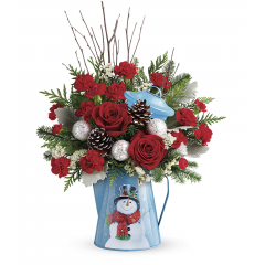 DiBella Flowers & Gifts Las Vegas - Pour on the Christmas charm with this radiant red bouquet, beautifully arranged in a vintage-inspired metal kettle with smiling snowman design.