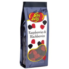 DiBella Flowers & Gifts Las Vegas - 6 oz gift bag of Raspberries and Blackberries from Jelly Belly. Fruit flavored gel candies with crunchy candy seeds.