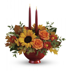 DiBella Flowers & Gifts Las Vegas - Warm their hearts and brighten their table with this lush fall bouquet, arranged in a crackle-glazed, oven-to-table stoneware serving bowl they'll enjoy for many years to come! *FDA-approved to safely serve and store food, this gorgeous hand-glazed stoneware serving dish is oven, microwave and dishwasher-safe.
