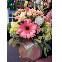 DiBella Flowers & Gifts Las Vegas - A favorite from one of our most talented designers, the Teresa bouquet, is a soft mix of green hydrangea, pink gerbs, light pink mini carns, white lisianthus in a soft pink art deco ceramic vase.