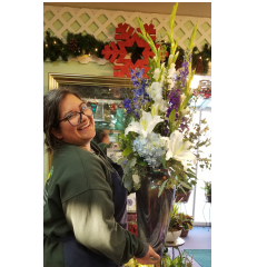 DiBella Flowers & Gifts Las Vegas - A bouquet fresh mixed flowers in a keepsake opalescent vase. These beautiful blooms were chosen by our very own eternally cheery, caffeine addicted, Rebecca.