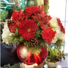 DiBella Flowers & Gifts Las Vegas - Red bubble bowl overflowing with fresh hydrangea, gerbera daisies carnation, alstromeria lilies and more.